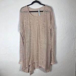 Free People New Romantics Crochet Oversize Sweater